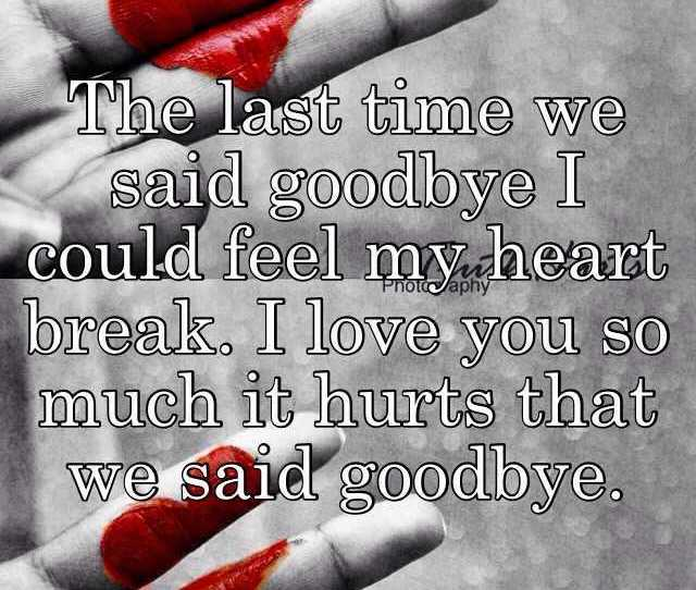The Last Time We Said Goodbye I Could Feel My Heart Break
