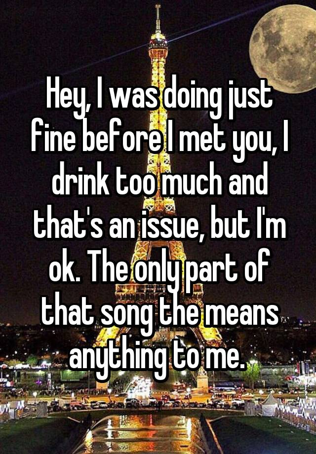 Hey I Was Doing Just Fine Before I Met You : doing, before, Doing, Before, Drink, That's, Issue,, Means, Anything