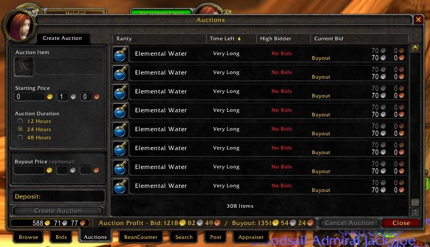 Auction Profit : Auction House & Vendors : World of Warcraft AddOns