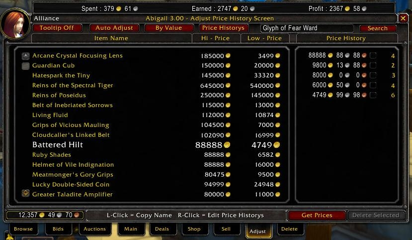 Abigail : Auction House & Vendors : World of Warcraft AddOns