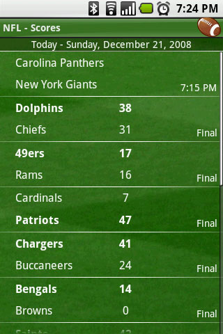 Scoreboard NFL Scores  AndroidTapp