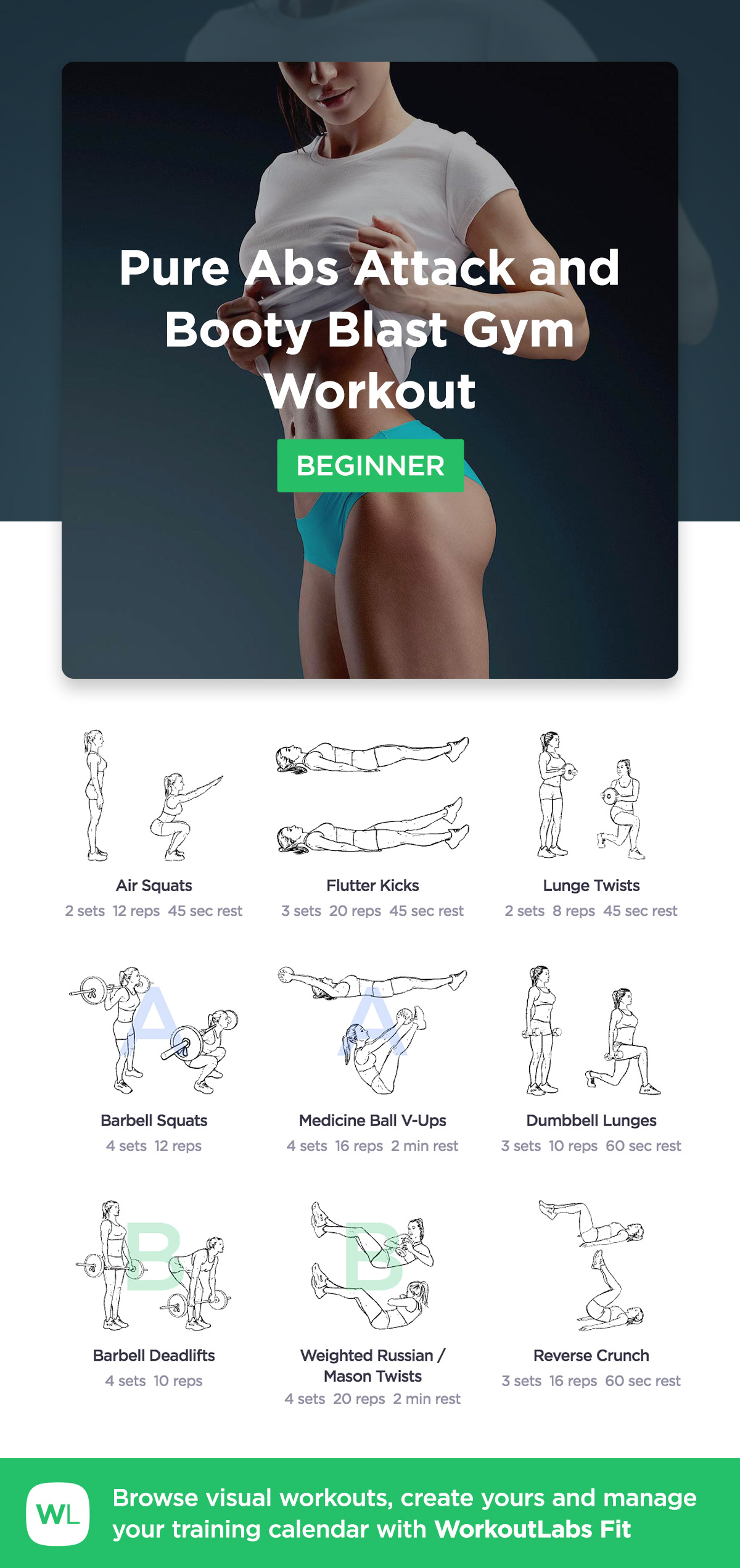 Pure Abs And Booty Blast Gym Workout Workoutlabs Fit