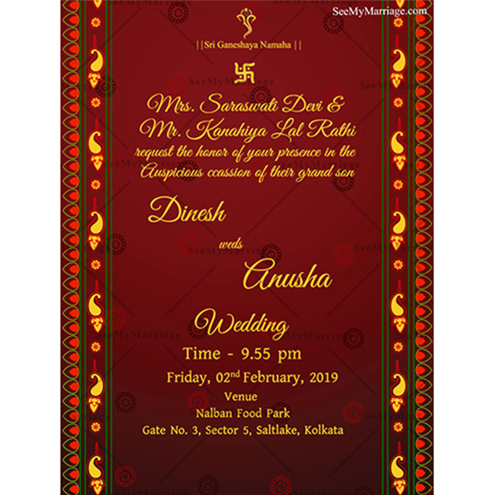 red carpet traditional indian style red theme wedding whatsapp invitation e card