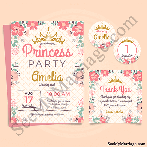 golden crown and red watercolour floral decorated baby princess 1st birthday invite e card