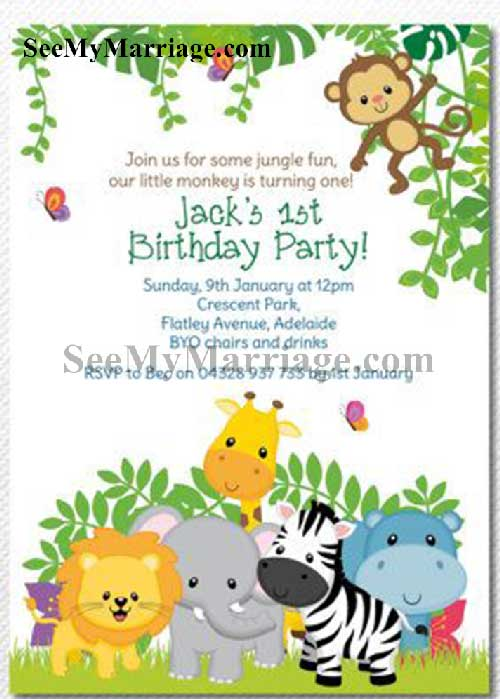 zoo theme birthday invite card with animated animal characters