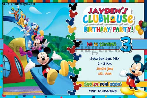 mickey mouse theme birthday invite card with blue color park background