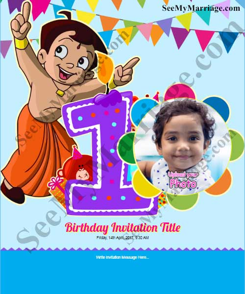 chota bheem 1st birthday invite in colorful party theme with baby pic and balloons background
