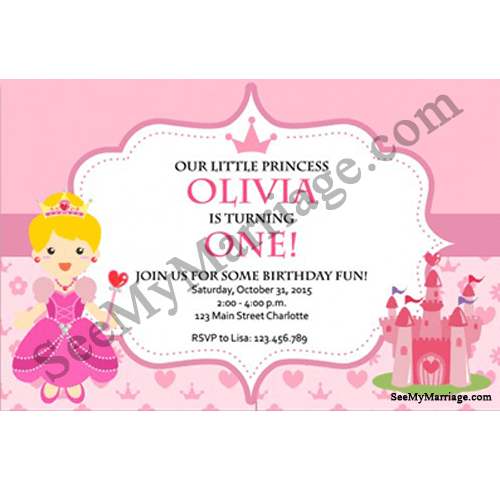 cindrella party night pink colored birthday invite card with colored fairy princess and fort