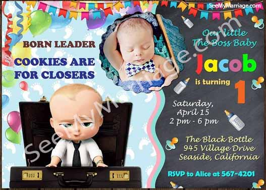 cuteness loaded boss baby theme birthday invitation card and gif with decorated party background