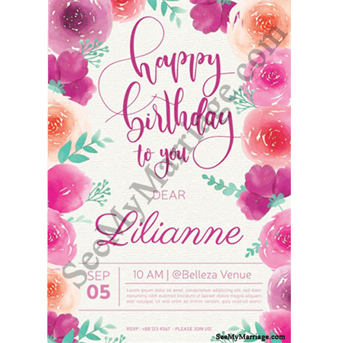 glow theme birthday wishing card decorated with rose flower borders in white background