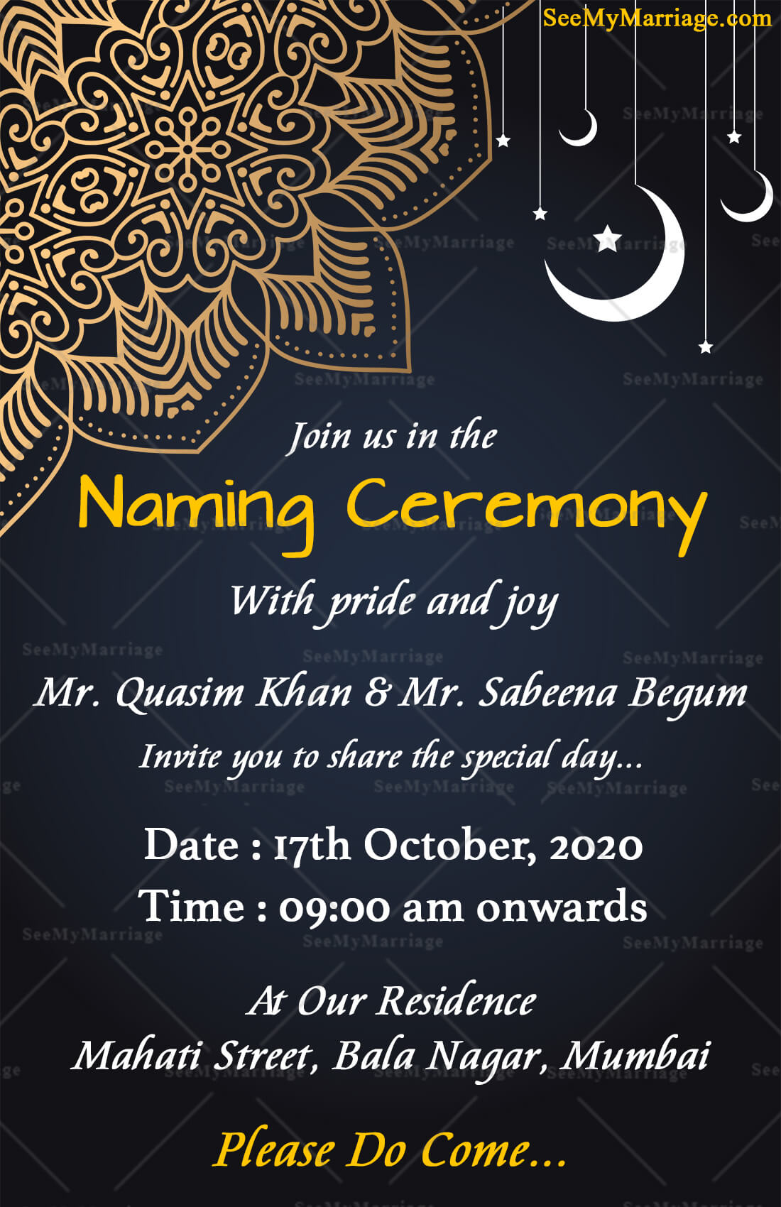 baby naming ceremony invitation card in dark navy blue background with traditional mandala design