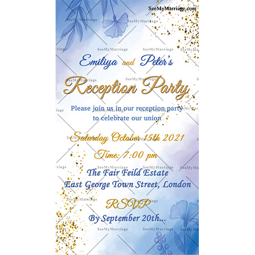 drink dance and party blue water colour theme reception party invitation card with glowing glitter particles