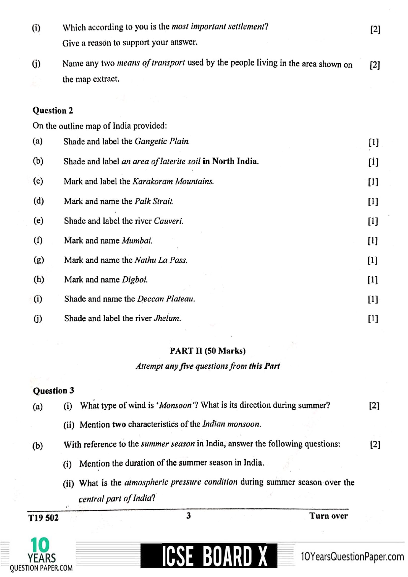 Icse Geography Question Paper For Class 10