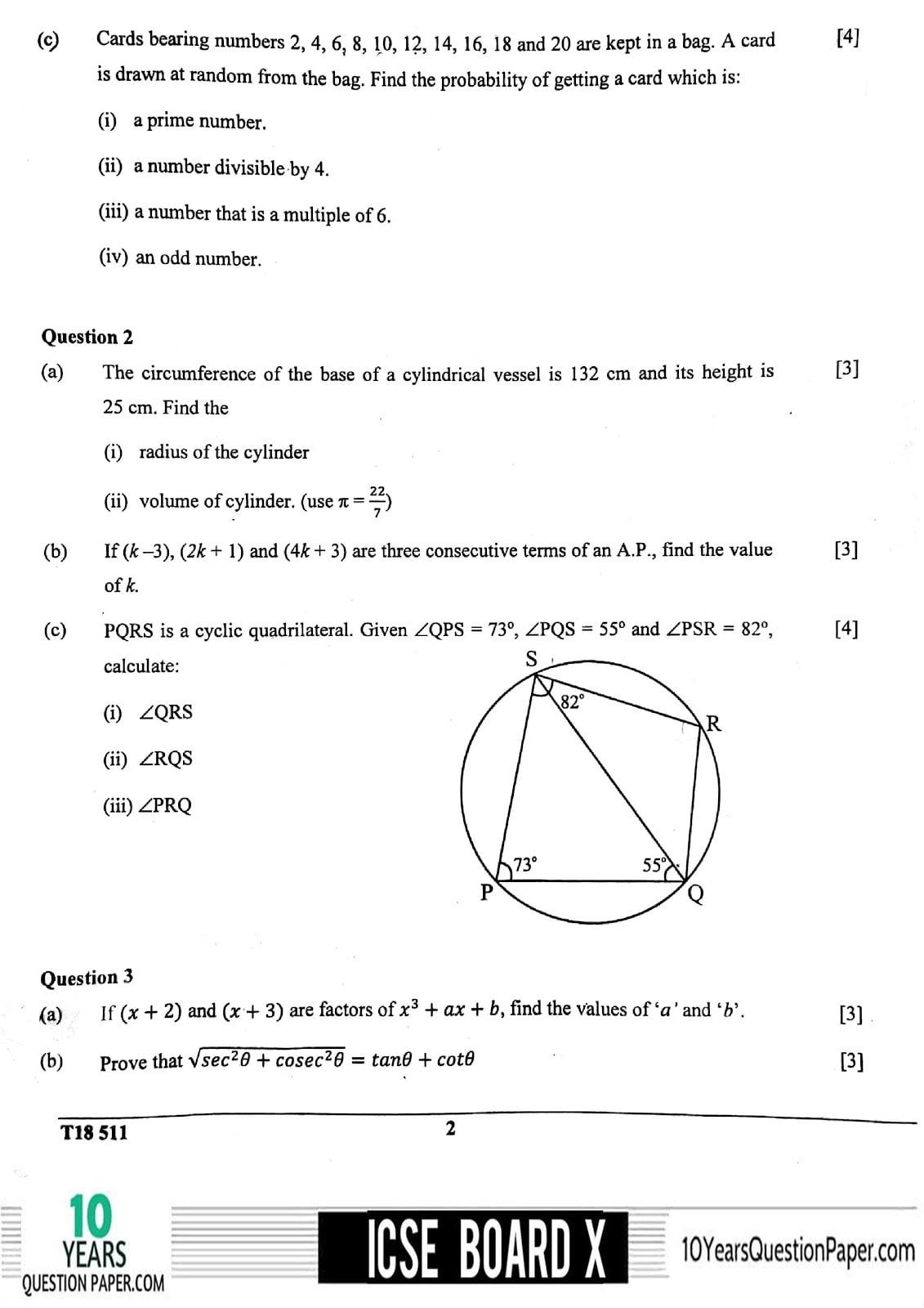 Icse Mathematics Question Paper For Class 10