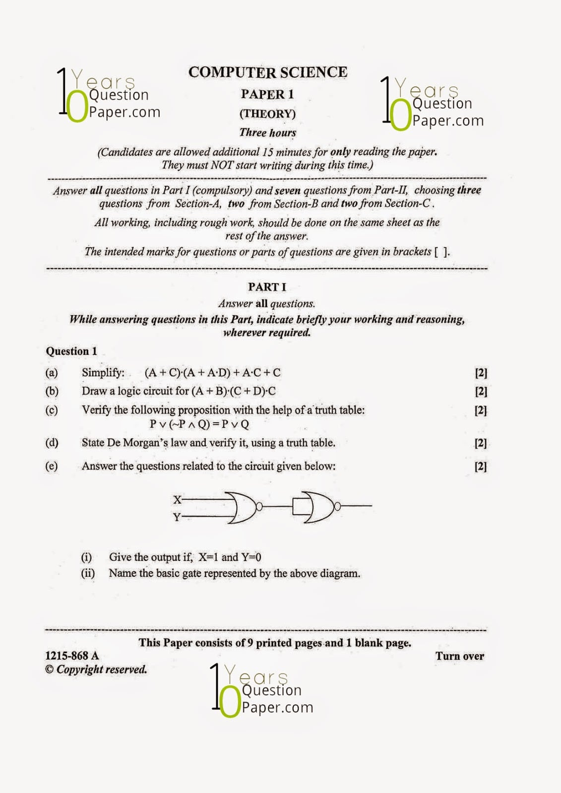 Isc Computer Science Question Paper For Class 12