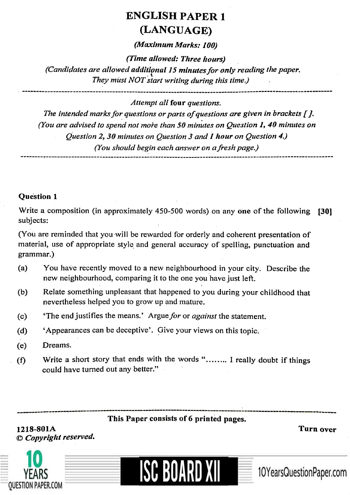 Isc English Language Question Paper For Class 12