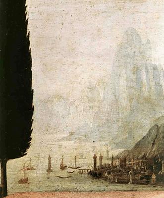 Riproduzione Annunciazione  Particolare Paesaggio di Leonardo Da Vinci