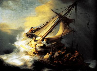 Riproduzione Cristo Nella Tempesta Sul Mare Della Galilea di Rembrandt Harmenszoon Van Rijn