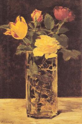 Riproduzione Natura Morta Con Rose E Tulipani Nel Vaso Di