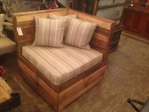 wooden corner chair high back outdoor diy cushioned pallet 101 pallets recycled sectional seating unit
