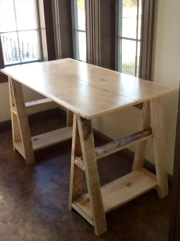 Wood Pallet Sawhorse Desk Design  101 Pallets