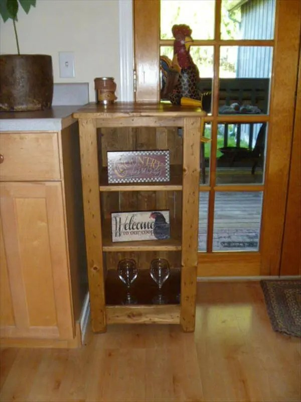 DIY Pallet Bookcase Floor Cabinet Bathroom Storage Unit  101 Pallets
