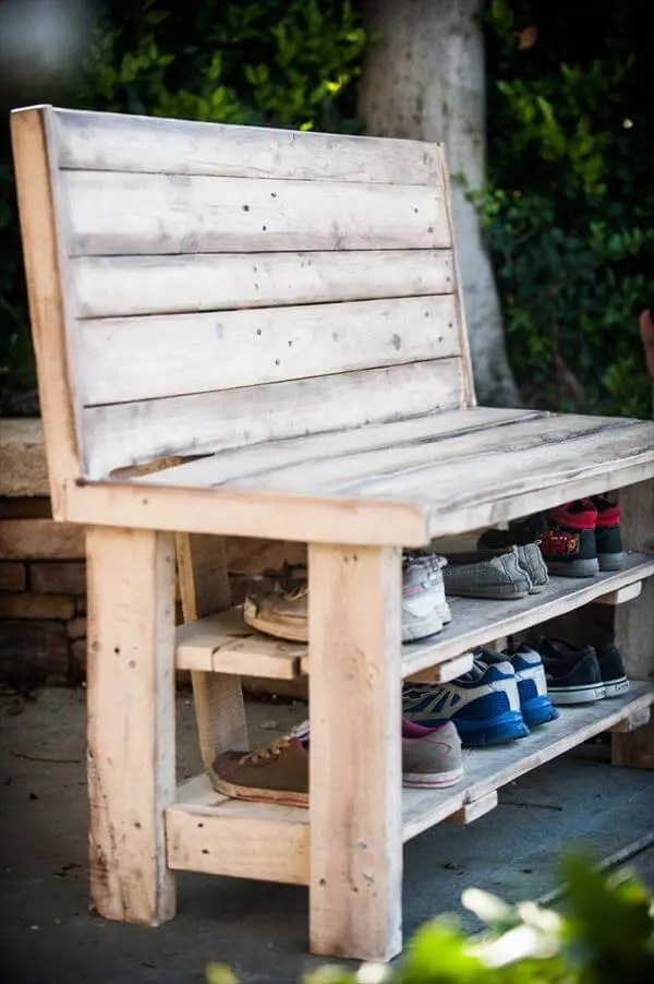 Diy Repurposed Pallet Shoe Rack Bench 101 Pallets