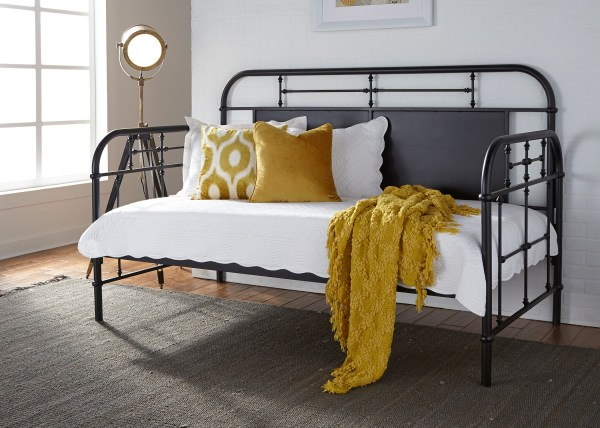 Liberty Vintage Distressed Twin Metal Day Bed-black