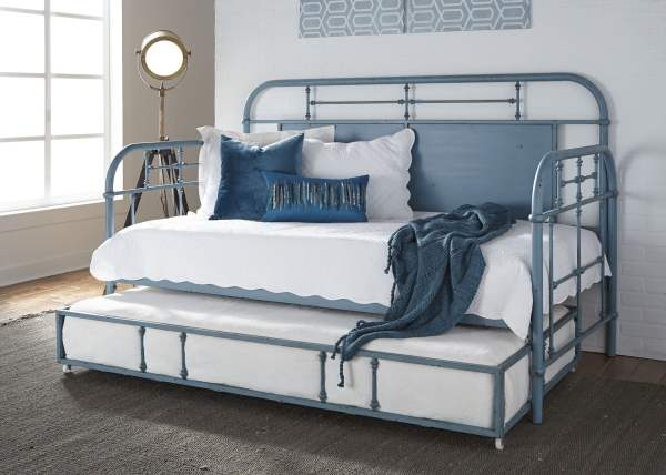 Liberty Vintage Distressed Blue Twin Metal Daybed With