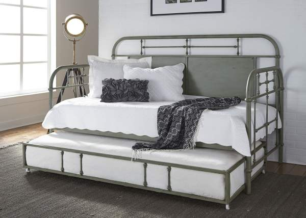 Liberty Vintage Distressed Green Twin Metal Daybed With