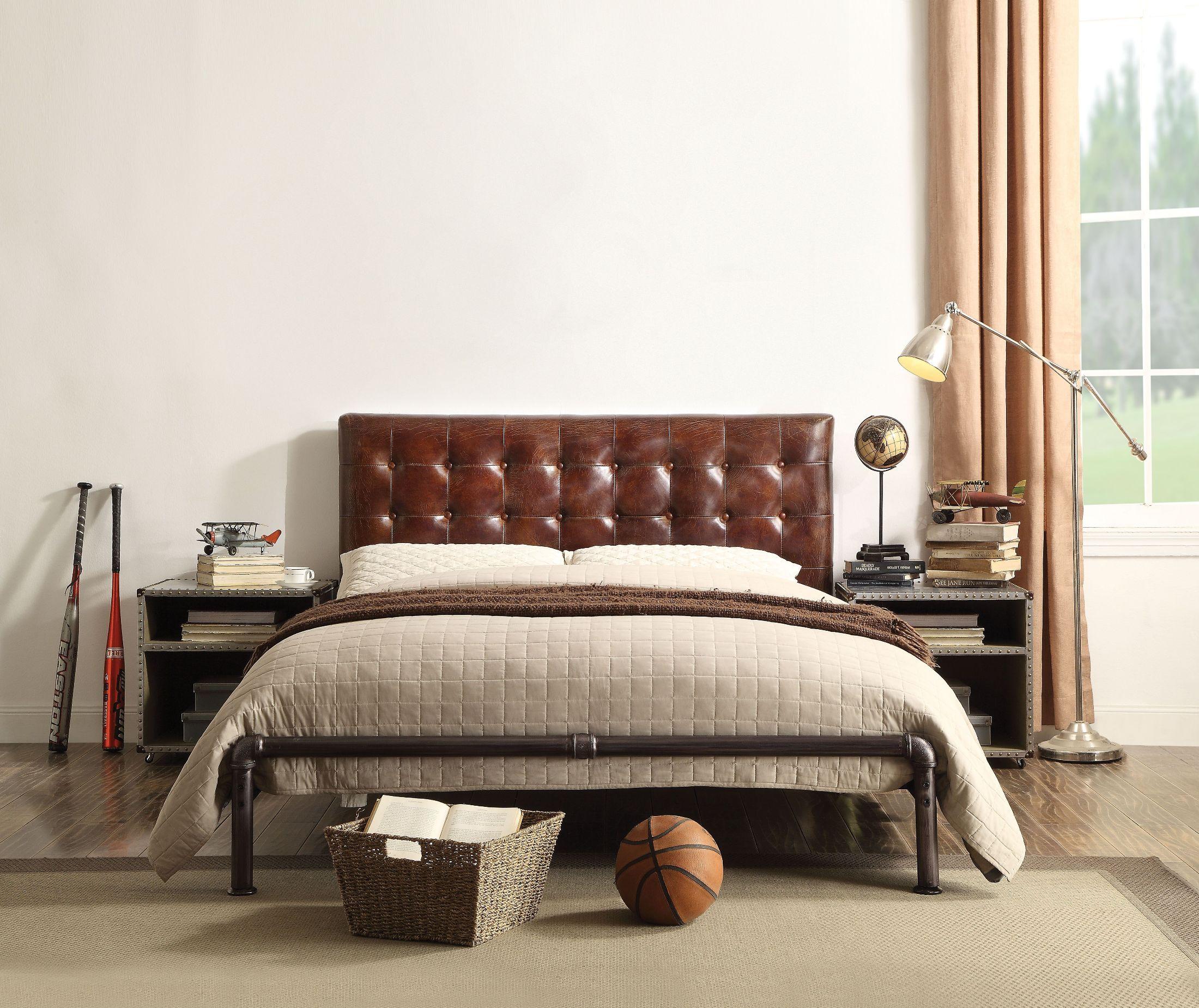 ACME Brancaster Vintage Brown Leather Bedroom Set