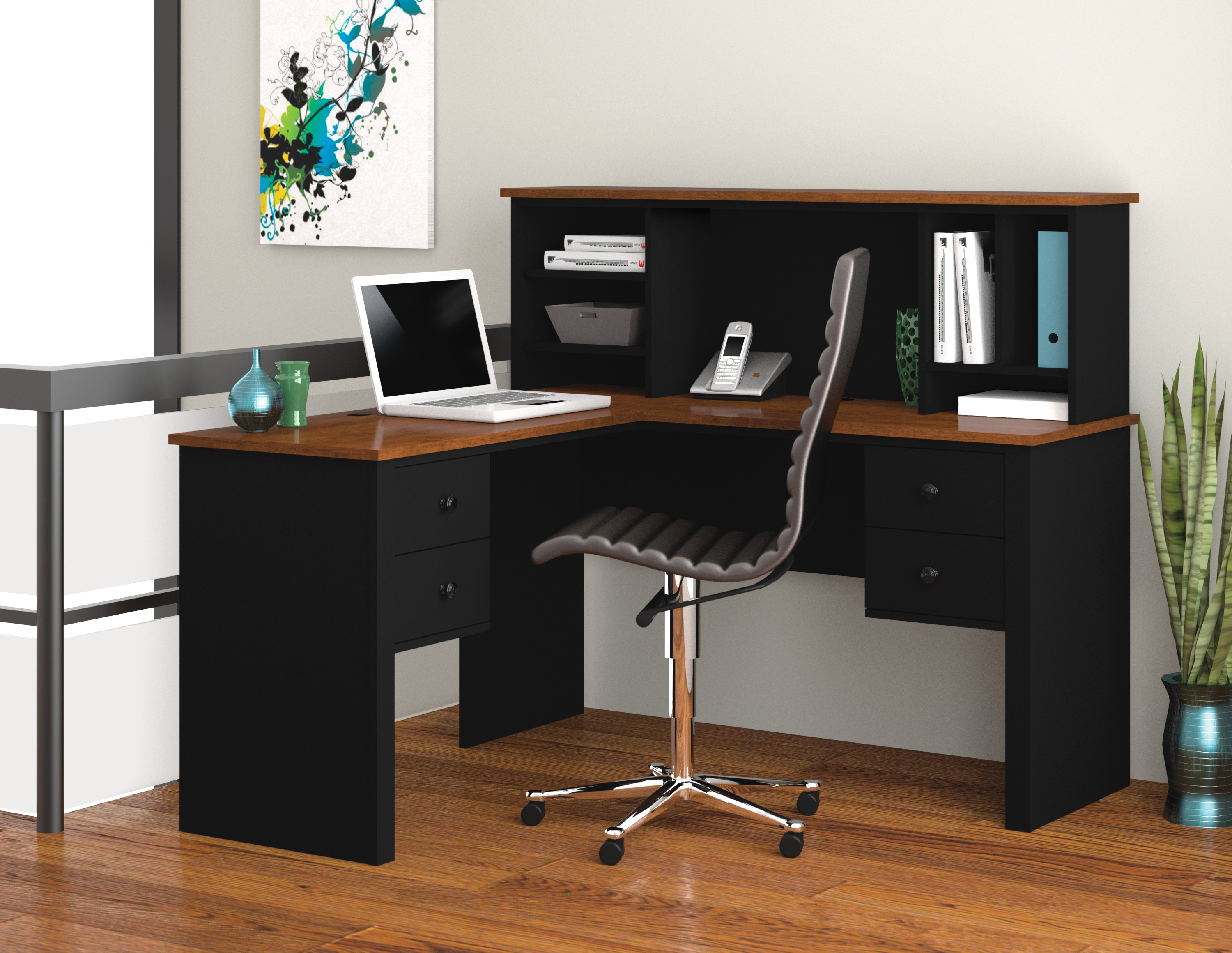 Bestar Somerville Black  Tuscany Brown LShaped Desk With