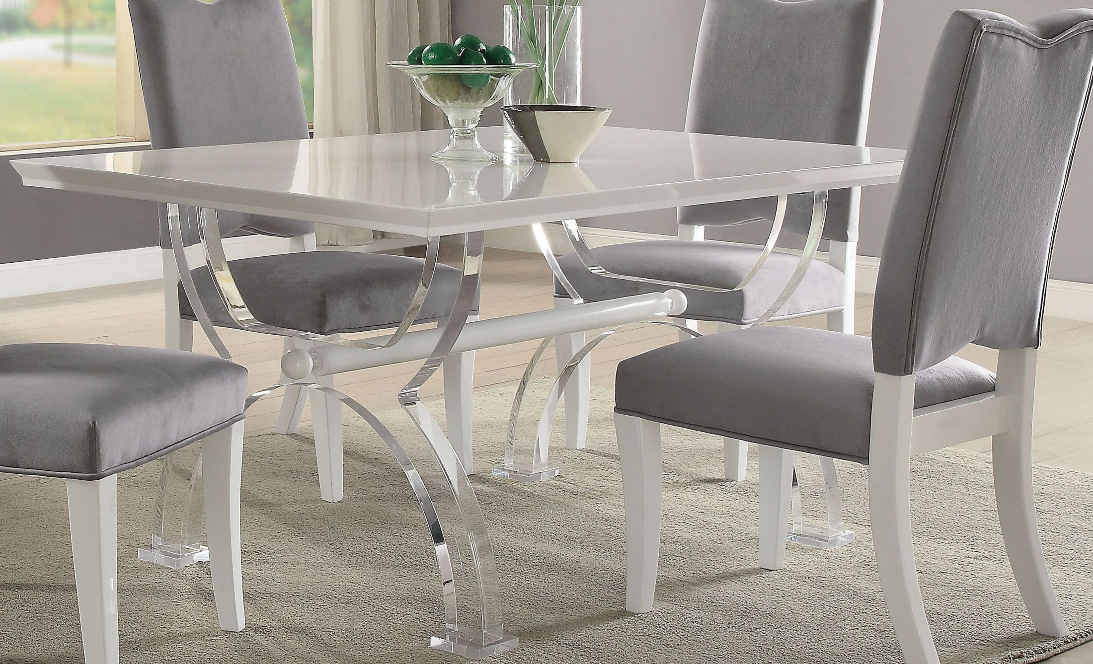ACME Martinus High Gloss White and Clear Acrylic Dining