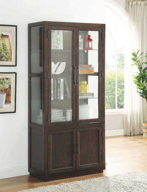 Acme Alanus Walnut Curio Cabinet - Collection 5