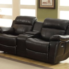 Black Reclining Sofa With Console Modena 3 Seater Leather Homelegance Marille Double Glider Loveseat Center