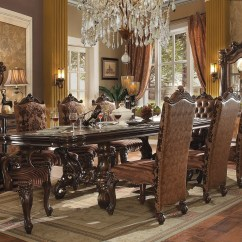 Bedroom And Living Room Sets Painting Small What Color Acme Versailles 9 Piece Pedestal Dining Set In Cherry Oak Oakmedia Image