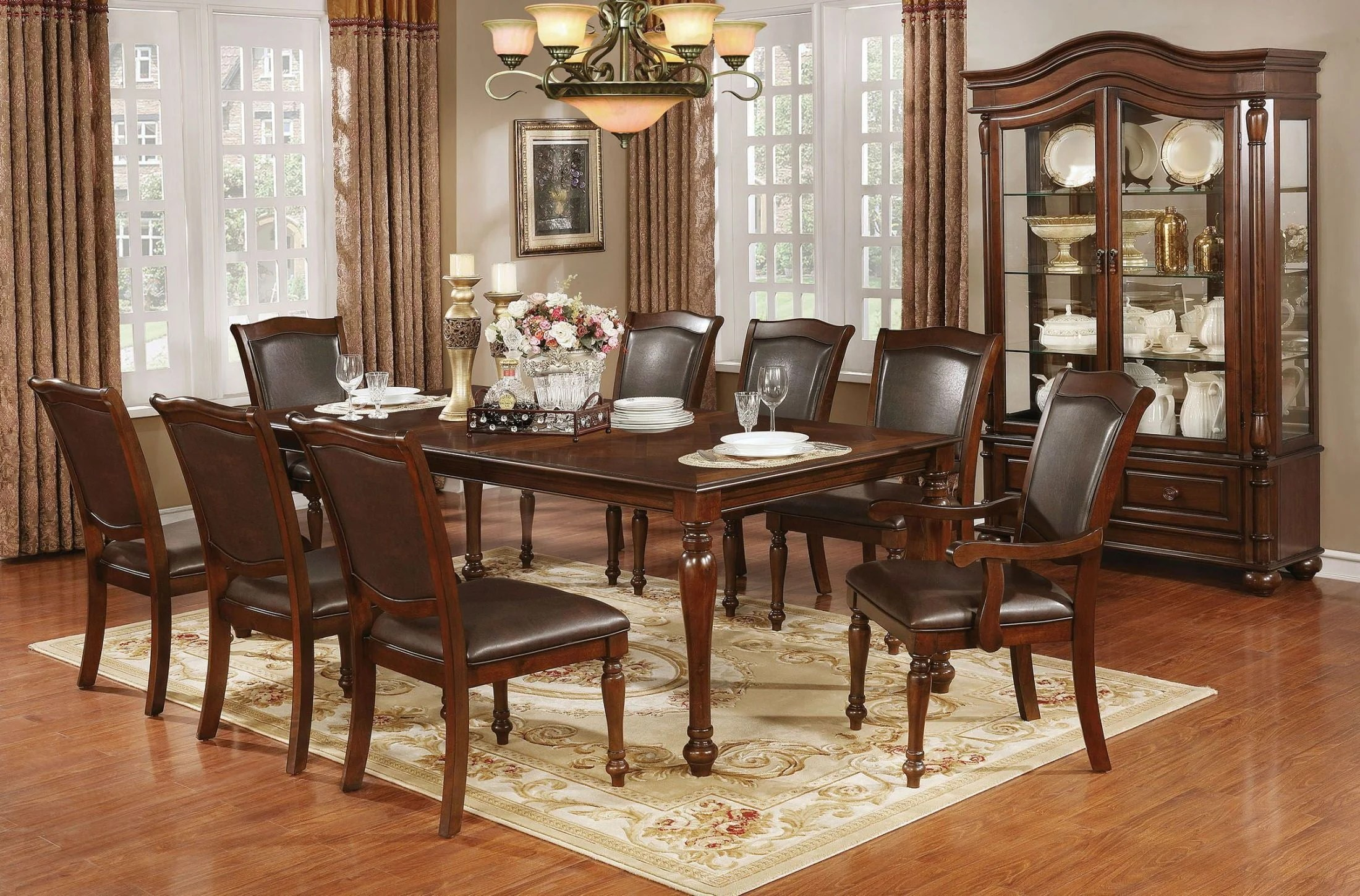 Furniture of America Sylvana Brown Cherry Dining Room Set