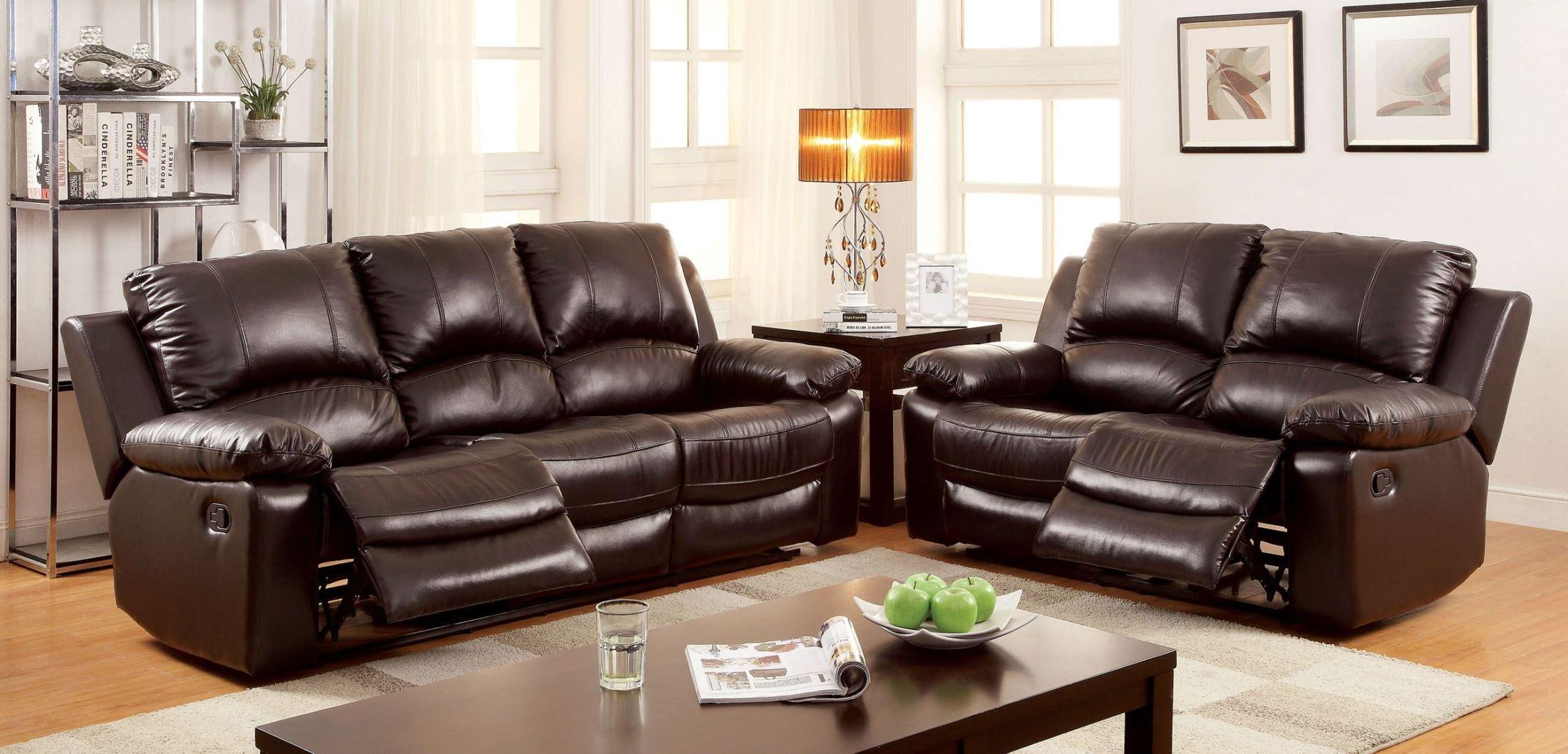 fairfax 3 piece top grain leather reclining living room set simple tv unit designs for india furniture of america davenport match setmedia image