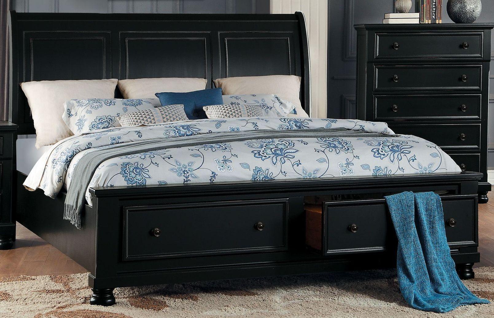 Homelegance Laurelin Black King Sleigh Storage Bed