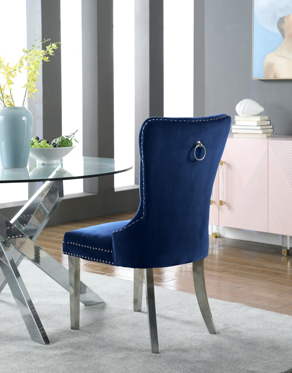 medium resolution of  carmen navy velvet dining chair set of 2 743navy c media gallery 2