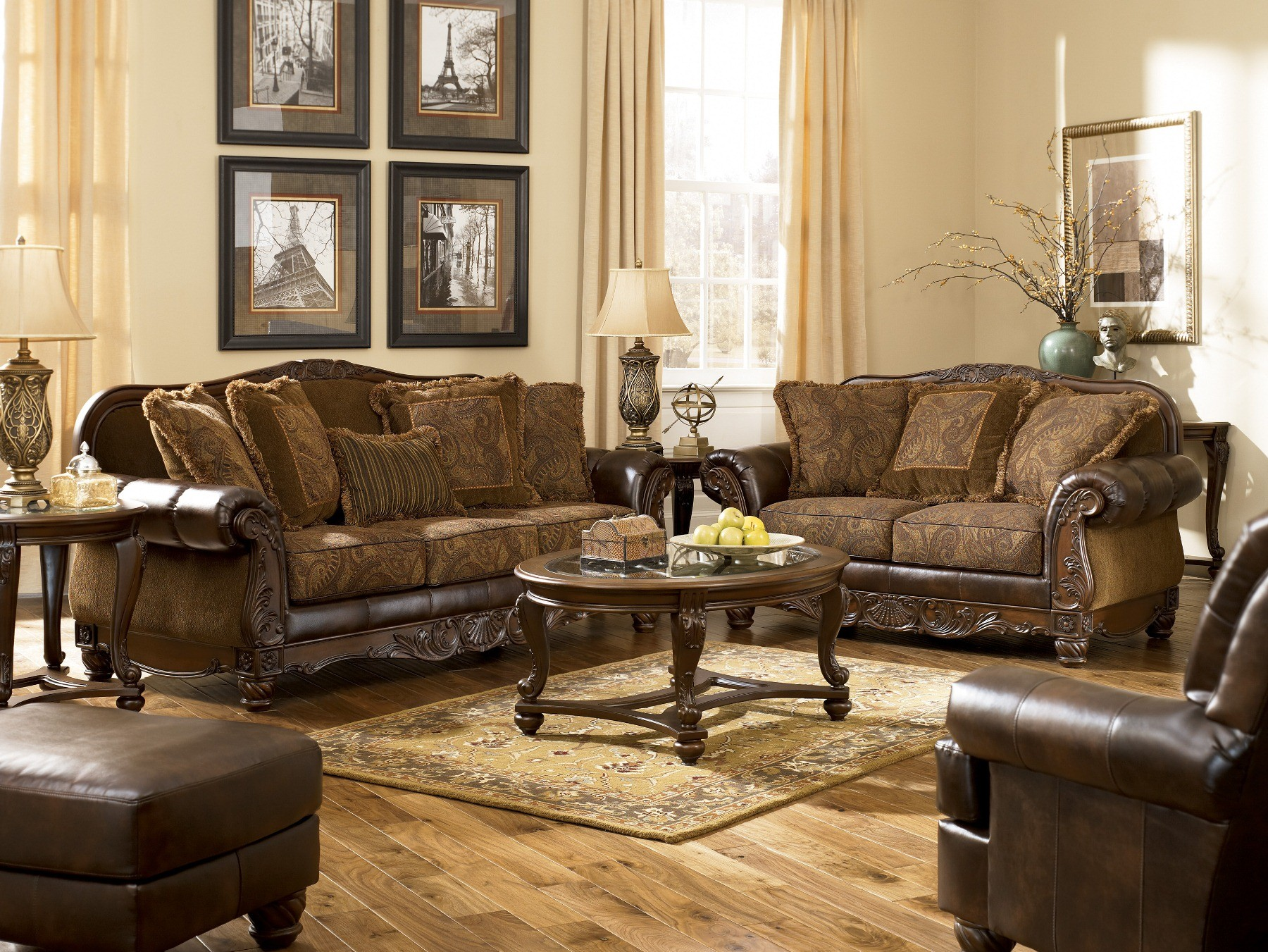 vintage living room sets ideas gray and yellow signature design by ashley fresco durablend antique sofa media gallery 1