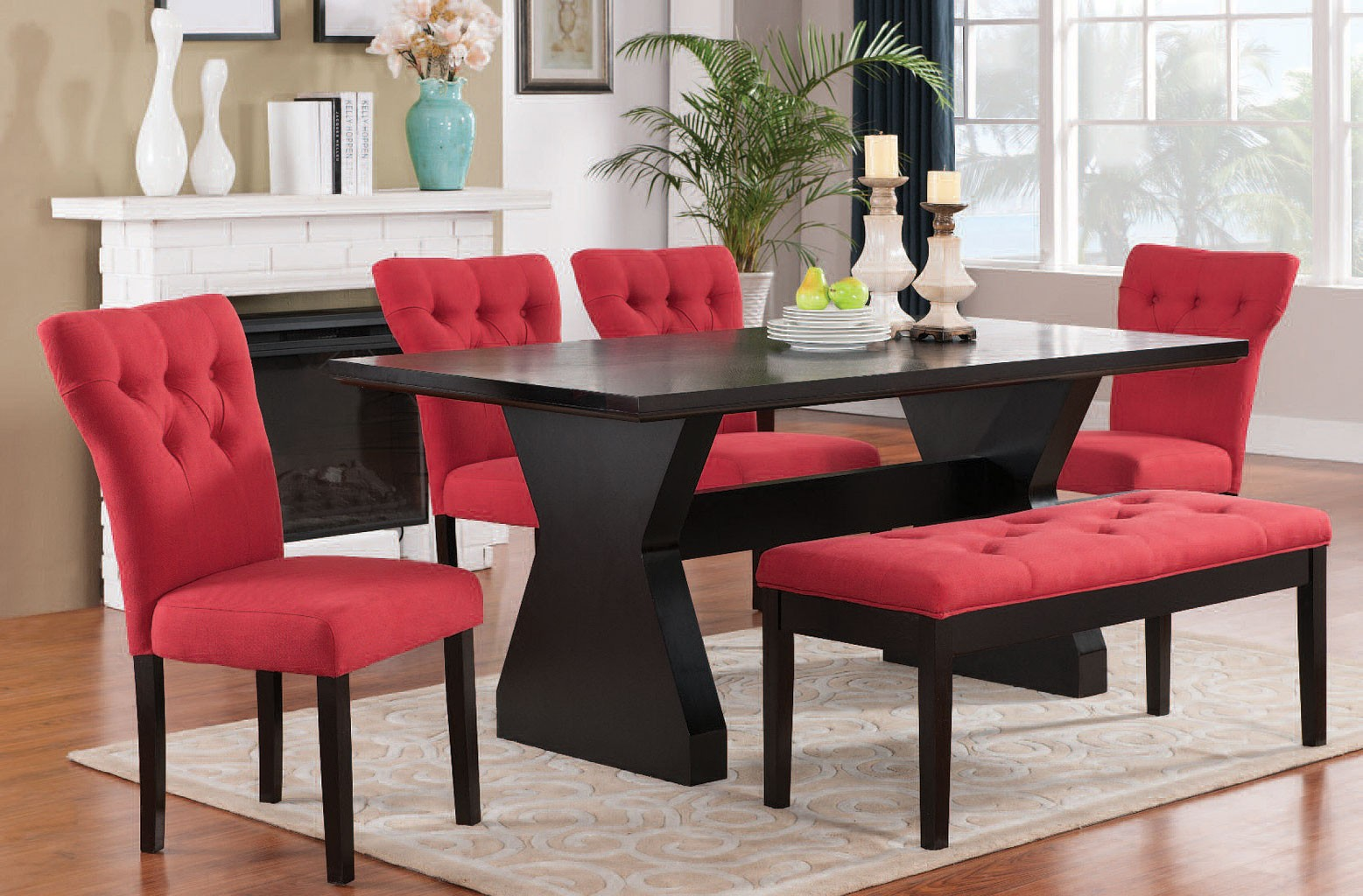 Effie Dining Room Set w Red Chairs  1StopBedrooms