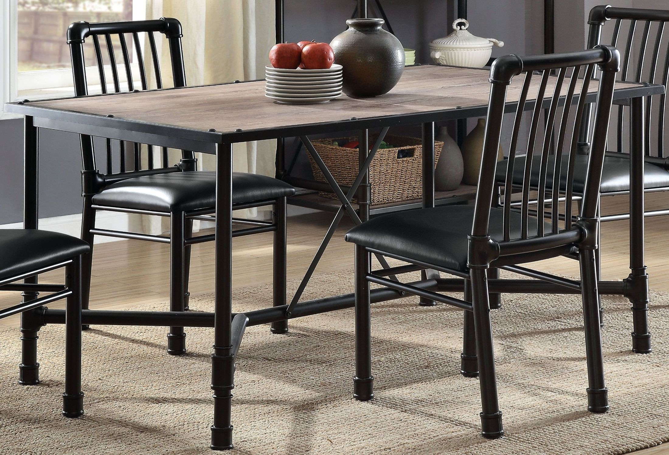 Black Dining Room Table And Chairs Caitlin Rustic Oak And Black Dining Room Set