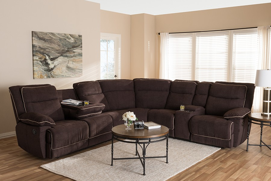 baxton studio sabella modern and contemporary light brown fabric upholstered 7 piece reclining sectional