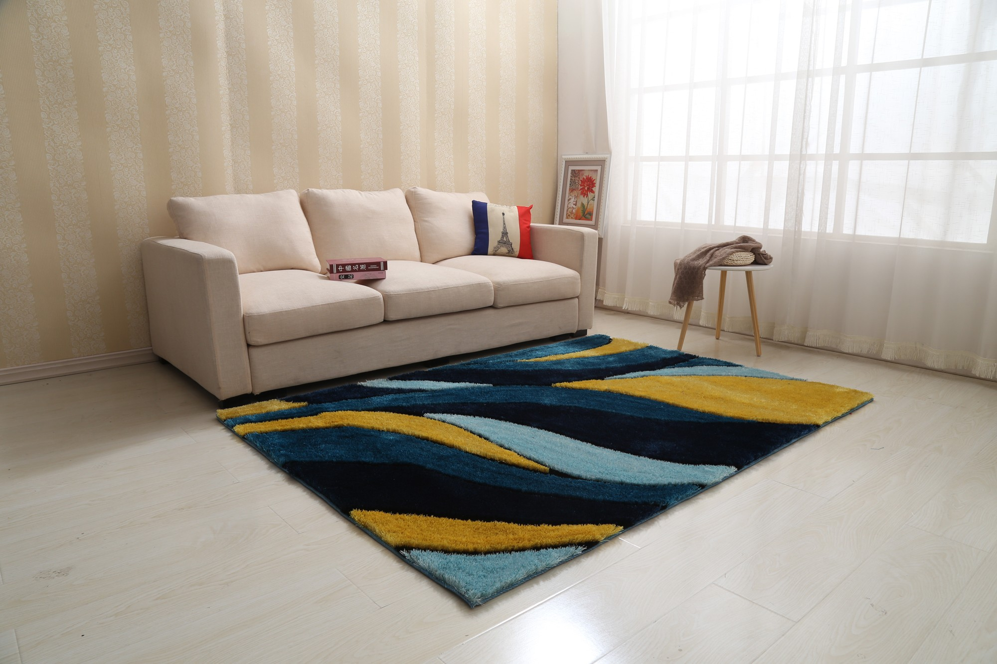 Aria Yellow And Navy Blue Soft Pile Shaggy Area Rug 8 X 11 1stopbedrooms