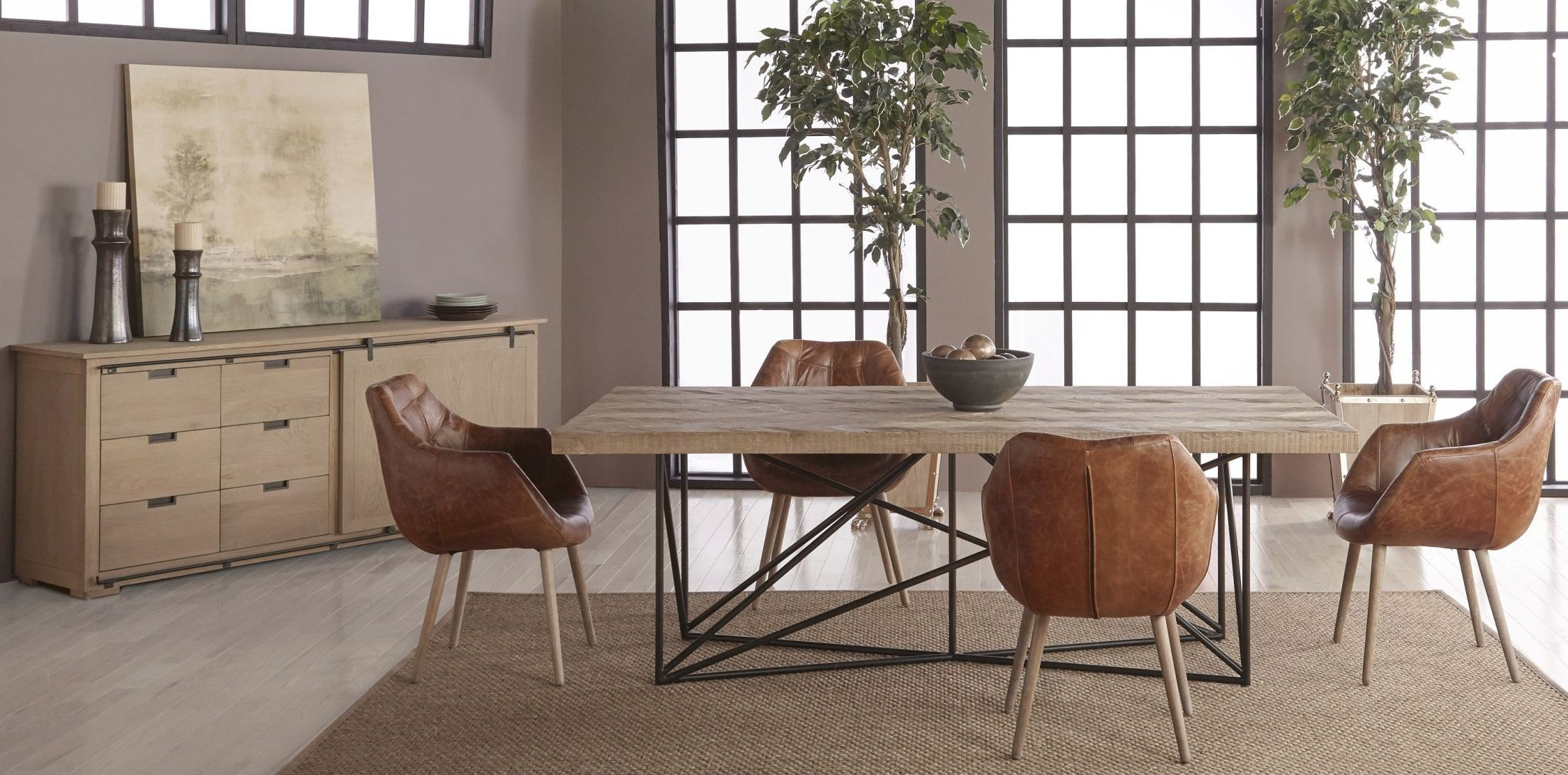 Canvas Smoke Gray Dining Room Set with Morris Dining