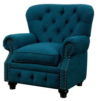 Furniture of America Stanford Dark Teal Fabric Chair