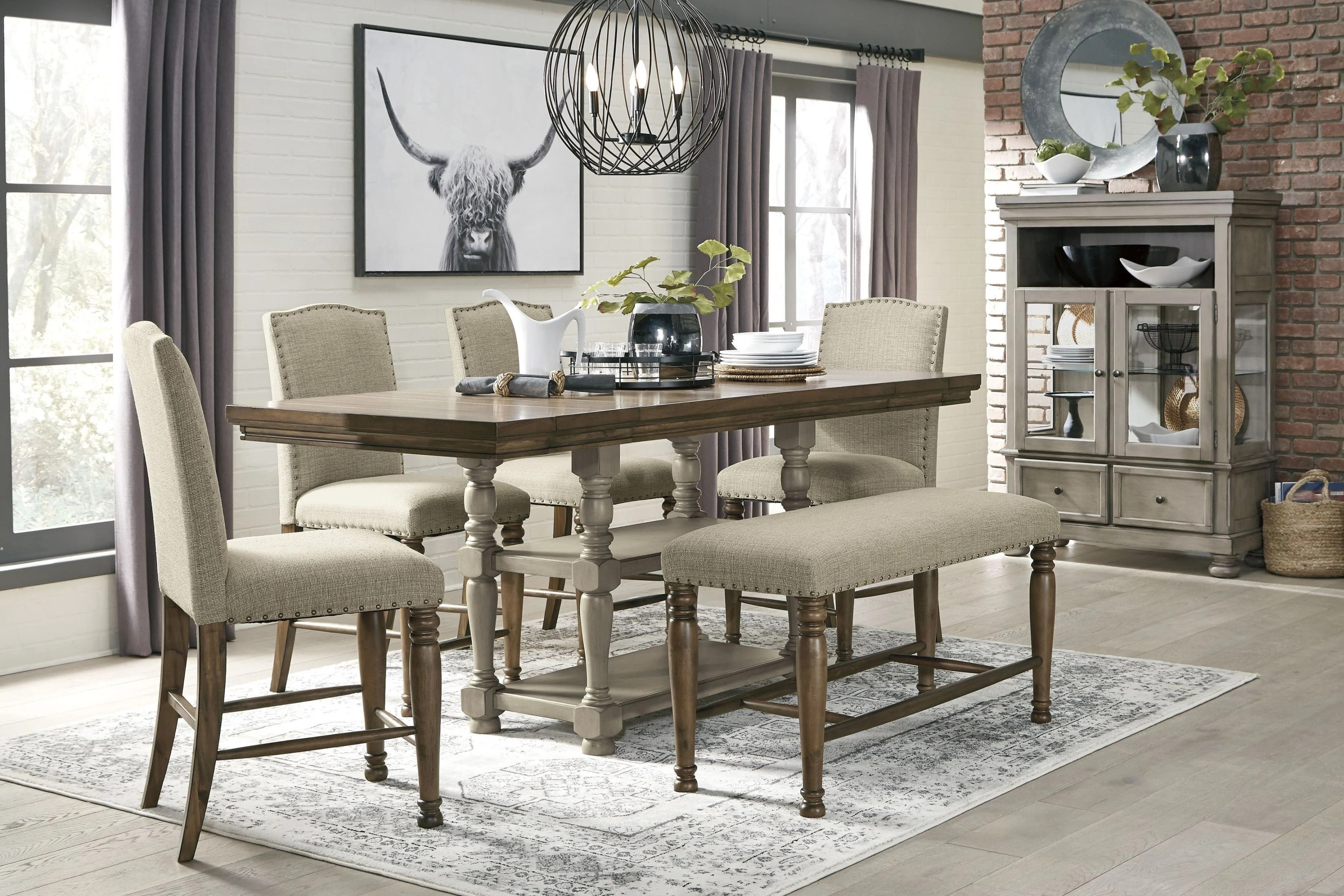 Lettner Gray And Brown Counter Height Dining Room Set 1stopbedrooms