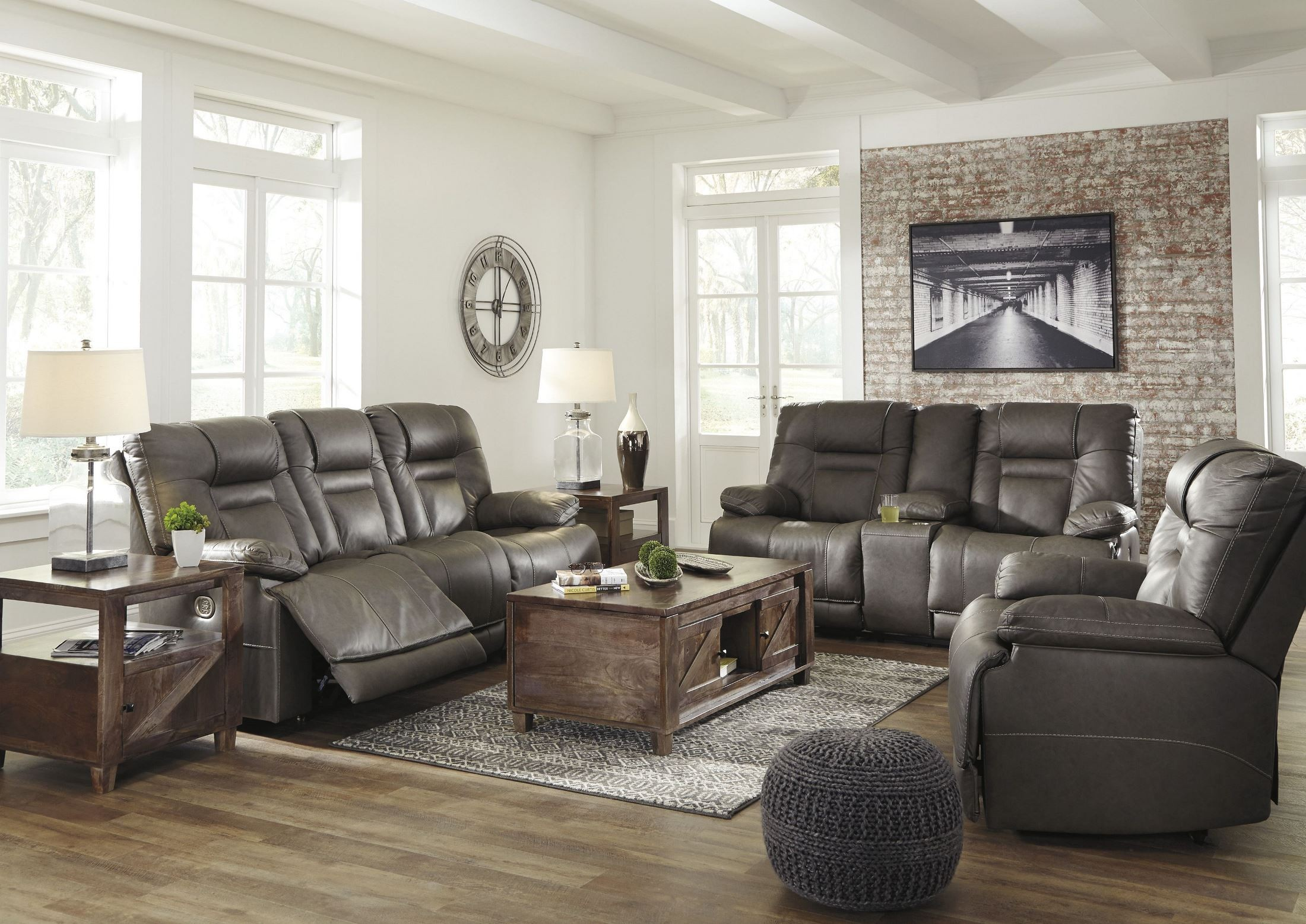recliner living room set shades of gray paint for signature design by ashley wurstrow smoke power reclining with adjustable headrest media gallery 1