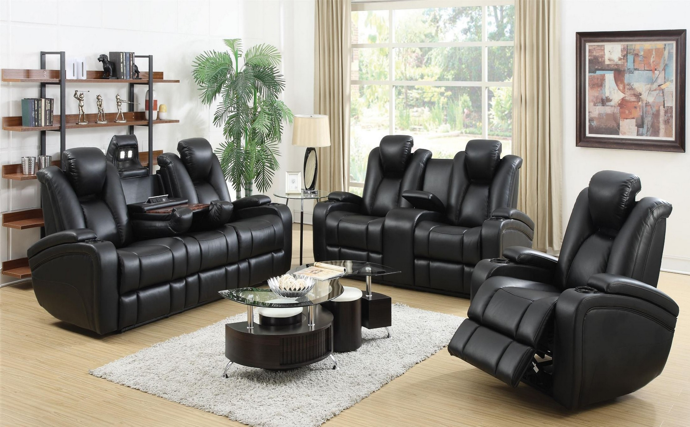 recliner living room set how to decorate a with dark brown couch coaster delange power reclining collection